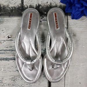 Silver Metallic Prada Thong Sandal 8